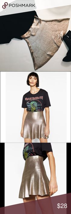 🆕 Zara Short A-Line Foil Skirt The knitwear collection short a-line high-waited skirt in shiny foil fabric. Materials 85% viscose, 13% polyamide, 2% elastomer. Measurements approx: waist 12.2in, length 18.7in. Thai skit is made with special finishing of foil print and may have variations in brightness and fabric appearance. Please look last 2 photos fabric have some fading of color on back and front. Please let me know if you have any questions. Zara Skirts Mini