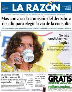Los Titulares y Portadas de Noticias Destacadas Españolas del 13 de Septiembre de 2013 del Diario La Razón ¿Que le pareció esta Portada de este Diario Español?