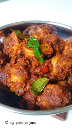 """Prawns Sukka"" is a popular, coastal seafood delicacy from Mangalore. It is also known as Yetti Ajadina in Tulu. Its an absolute favourite of the people of Mangalore (south canara) and … Indian Prawn Recipes, Goan Recipes, Veg Recipes, Curry Recipes, Cooking Recipes, Pakora Recipes, Simple Recipes, Cooking Tips, Dinner Recipes"