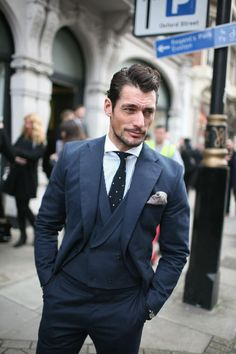 Street style for Day TWO of London Collections: Men (8 Jan 2013)    Model: David Gandy