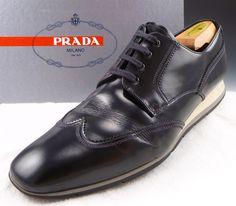PRADA sz 9.5 LEATHER WINGTIP SNEAKERS 4E2674 MENS BLACK fits US 10.5 $495 #PRADA #FashionSneakers #distinctivedeals