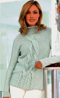 Длинный свитер с косами