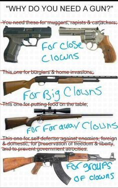 In late summer creepy clowns first showed up in the news. By early fall, bandwagon-hoppers were making creepy clowns a spreading cultural THING. No telling where this will end, but we really didn't need another thing to worry about. Creepy Clown Sightings, Gun Humor, Gun Rights, Military Humor, Military Weapons, Know Your Meme, Guns And Ammo, Self Defense, Clowns