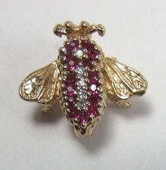 Ruby Diamond Body 14k Yellow Gold Honey Bee Fly Bug Necklace Pin Brooch 3.2 Gram