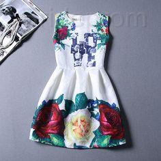 Short Retro Printing Patterns Women's Clothing Sleeveless Casual Dress YHD4-12 Size S M L XL on Luulla