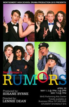 Program cover for Montgomery High School Drama Production 2015. Neil Simon's Rumors