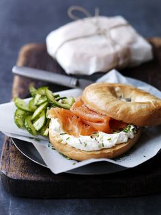 Smoked salmon and cream cheese bagels, seriously could eat these for every meal - love em! Totally making fresh bagels today and smashing one of these.