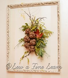 Fall decor using rope knots, leaves, sticks, and herbs from the yard and garden