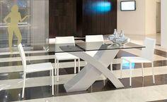 BASE LAQUEADA, TAPA DE VIDRIO Dining Room, Dining Table, Living Comedor, Ideas Para, Office Desk, Furniture, Villa, Design, Home Decor