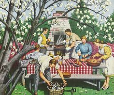 Backyard Barbecue, art by Stevan Dohanos, 1947. Just gearin' up for Memorial Day Weekend!