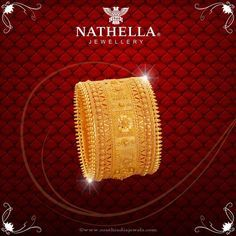 Bridal Jewellery Collections from Nathella, Bridal Jewellery Designs From… Real Gold Jewelry, Gold Jewelry Simple, Gold Bangles Design, Gold Jewellery Design, Designer Jewellery, Bridal Bangles, Bridal Jewelry, Ring Set, Collections