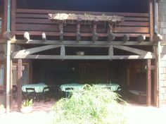 Greene & Greene, Gamble house, Pasadena.   Back patio and  second floor deck.  Flower box.