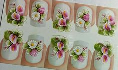 Face Painting Flowers, Flower Nails, Manicures, Nail Art, Colours, Stickers, Fingernails Painted, Glitter Nail Art, Tutorial Nails