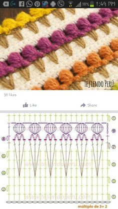 How To Easy Crochet Strawberry Stitch Crochet Stitches Chart, Crochet Motifs, Crochet Quilt, Crochet Borders, Crochet Flower Patterns, Crochet Diagram, Crochet Blanket Patterns, Crochet Doilies, Crochet Flowers