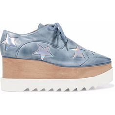 Stella Mccartney Metallic appliquéd distressed faux leather platform... ($433) ❤ liked on Polyvore featuring shoes, sneakers, grey, grey wedge sneakers, platform shoes, faux leather wedge sneakers, wedge sneaker and metallic platform sneakers