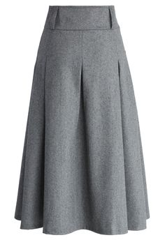 Wool Blend Full Skirt in Grey - Retro, Indie and Unique Fashion