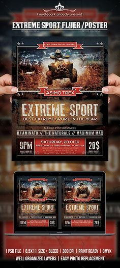 """Extreme Sport Flyer / Poster Extreme Sport flyer templates or poster template designed to promote any kind of music event, concert, festival, party or weekly event in a music club and other kind of special evenings. Features1 psd File Print Ready 8.5x11""""   Bleed 300 dpi CMYKWell Organized Layers Easy to use Font usedBebasNeue : http://img.dafont.com/dl/?f=BebasNeue Nexa : http"""