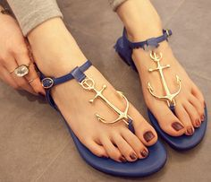 New hot Summer Lady Anchor Flat Sandal womens Pirates Flip Metal Shoes T Strap Slipper Shoes free shipping