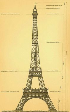 Eiffel Tower, Paris - original drawing by Gustave Eiffel. Gustave Eiffel, Eiffel Tower History, Torre Eiffel Paris, Paris Tour, Paris Vintage, Blueprint Art, Monuments, Historical Photos, Architecture Details