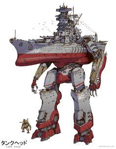 ArtStation - Great Warships of the Yamato Kingdom, Emerson Tung Robot Concept Art, Armor Concept, Arte Assassins Creed, Character Art, Character Design, Character Concept, Gurren Laggan, Battle Robots, Arte Robot