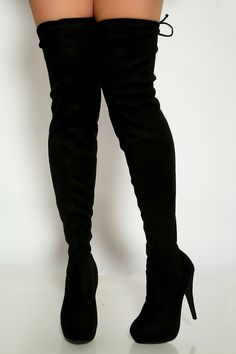 Womens Over Knee High Slim Boots  High Block Heels Platform Faux Suede Shoes New
