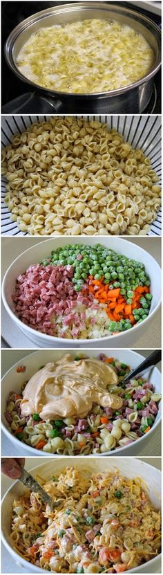 Ingredients: 5 cups cooked small shell pasta (approximately 3 cups dry) 3/4 cup diced raw carrots 1/4 cup diced onion 8 oz. (1 1/2 cup) mini-cubed ham 1 (8 oz) pac