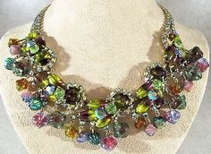 VINTAGE D&E JULIANA WATERMELON GIVRE RHINESTONES DANGLE ART GLASS BEADS NECKLACE
