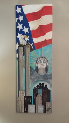 Hope & Faith - A Tribute to 9/11 and America.This is a tribute to 9/11 and the people of New York. This wall piece measures 12 x 36 is Acrylic on Canvas - Gallery wrapped - Ready for Hanging.  PRICE: $110. Etsy: http://www.etsy.com/shop/GinnysArtWorks