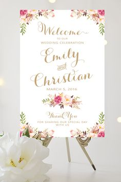 Wedding Welcome Sign Large Wedding Poster by CharmingEndeavours