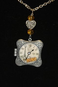 Paris locket picture of watch face square by hudathotjewelry, $20.00