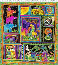 "This one Laurel Burch Mythical jungle panel Pre-cut 23"" x 43"" Panel Mythical Jungle. 