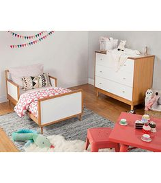 Babyletto Skip Toddler Bed - Chestnut and White