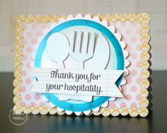 Card by PS DT Ashley Marcu using PS Recipe For Success, Scalloped Circles, Flatware, Chains dies