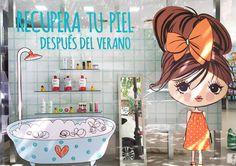 """Escaparate """"Recupera tu piel después del verano"""" en vinilo para farmacia Navarro Torres."""