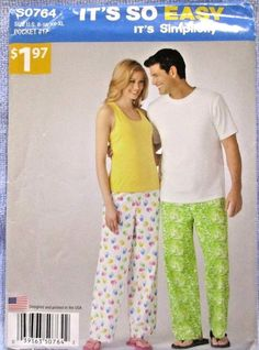 Simplicity Pattern SO764 Misses Mens Pants Knit Top Tank Top Sz 8-18/XS-XL Uncut #Simplicity