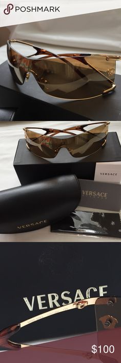 "Versace Sunglasses - 2052 Versace Gold lenses/gold frames sunglasses, with adjustable nose pieces. 100% Authentic! Comes with case, box, warranty, cloth, etc. Model 2052 1002/6H 120  ‼️One slight defect, came to me this way, (new) bottom edge of right lenses is nicked. Defect will be reflected in cost. Most comment ""agree"" before purchasing to signify you accept them ""as is""‼️ I didn't notice this defect upon first inspection, and it doesn't interfere with vision. No scratches on lenses…"