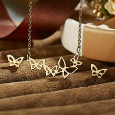 Birthday Gifts for Girls : Stainless Steel Butterfly Strand Necklace and Earrings Set Studs Wings Gold Tone Magical Jewelry, Stainless Steel Earrings, Birthday Gifts For Girls, Butterfly Necklace, Multi Strand Necklace, Inspirational Gifts, Earring Set, Jewelry Sets, Studs