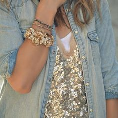 sequins and chambray.
