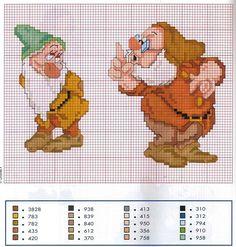Snow White (Bashful and Doc) cross stitch Disney Cross Stitch Patterns, Cross Stitch For Kids, Just Cross Stitch, Beaded Cross Stitch, Cross Stitch Baby, Counted Cross Stitch Patterns, Cross Stitch Charts, Cross Stitch Designs, Cross Stitch Embroidery