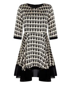 OMG..Love this Black Skull A-Line Dress by Iska London on #zulily! #zulilyfinds BUT they don't have my size. Please for the love of all things sacred, bring this back!