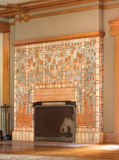 best images about craftsman style tile designs fireplace tiles Craftsman Fireplace, Fireplace Hearth, Fireplace Design, Tile Fireplace, Fireplace Seating, Fireplace Candles, Cottage Fireplace, Fireplace Modern, Fireplace Garden