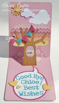 Funky Label Pop 'n Cuts Insert plus A2 Base - The Dining Room Drawers: Cricut Owl Pop 'n Cuts Card