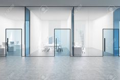 Blue transparent office lobby with a conference room and two. Blue transparent office lobby with a conference room and two open space offices by its sides. Office Room Dividers, Open Space Office, Glass Office, Office Lobby, Office Space Design, Modern Office Design, Office Interior Design, Office Interiors, Office Designs
