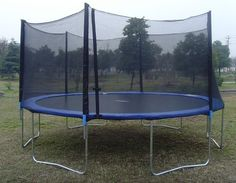 ExacMe 15' Ft 6W Legs Trampoline w/ Safety Pad and Enclosure Net and Ladder All-in-one Combo Set
