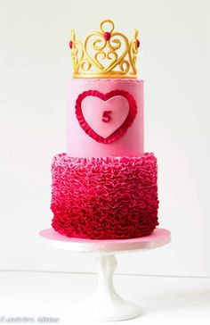 Pink Ombre & Gold Crown Birthday Cake Picture