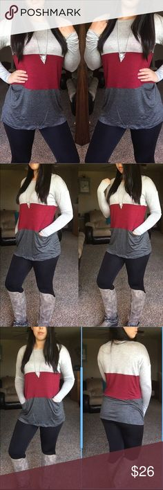 •JUST IN• Block pocket top in burgundy A basic top that your going to love! Block pocket top. Colors are light gray, burgundy, and dark gray. 97% rayon, 3% spandex. 🚫trades, price is firm unless bundled Bellino Clothing Tops Tees - Long Sleeve
