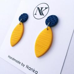 Handmade Polymer Clay Earrings - Minimalist Collection Lightweight earrings made of polymer clay material. All metal parts are made of stainless steel. Metal Clay Jewelry, Ceramic Jewelry, Diy Jewelry, Handmade Jewelry, Jewelry Making, Earrings Handmade, Fashion Jewelry, Simple Jewelry, Jewelry Ideas