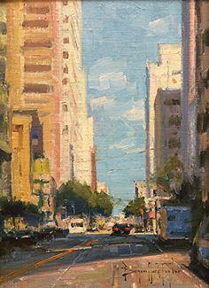 """Mission Street Délután"", 12 ""x 9"", olaj, Bryan Mark Taylor.  által Slusser Gallery ~ x"
