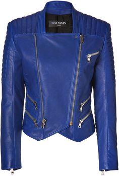 Balmain Gipsy Blue Lambskin Biker Jacket in Blue | Lyst