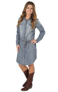 Stetson Women's Light Blue Long Sleeve Belted Denim Shirt Dress | Cavender's